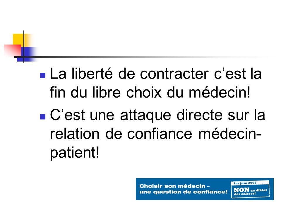 La liberté de contracter cest la fin du libre choix du médecin.