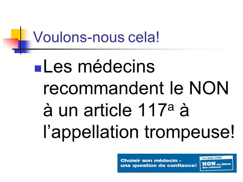 Voulons-nous cela! Les médecins recommandent le NON à un article 117 a à lappellation trompeuse!