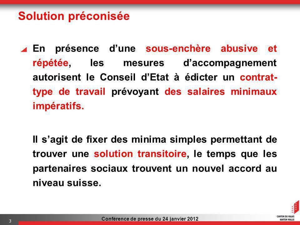 Conférence de presse du 24 janvier 2012 3 Solution préconisée En présence dune sous-enchère abusive et répétée, les mesures daccompagnement autorisent le Conseil dEtat à édicter un contrat- type de travail prévoyant des salaires minimaux impératifs.