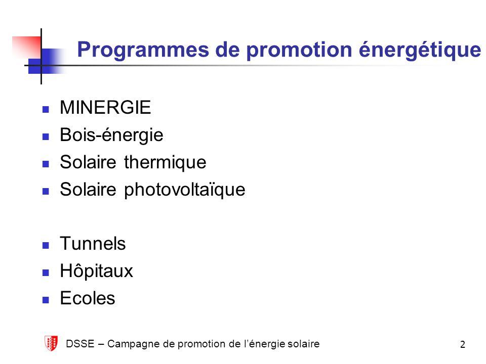DSSE – Campagne de promotion de lénergie solaire 2 Programmes de promotion énergétique MINERGIE Bois-énergie Solaire thermique Solaire photovoltaïque Tunnels Hôpitaux Ecoles