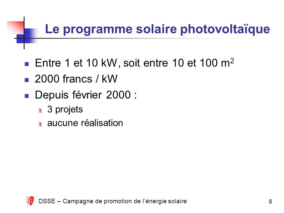 DSSE – Campagne de promotion de lénergie solaire 8 Le programme solaire photovoltaïque Entre 1 et 10 kW, soit entre 10 et 100 m 2 2000 francs / kW Depuis février 2000 : 3 projets aucune réalisation