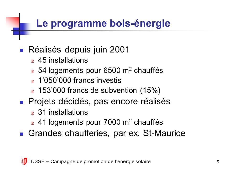 DSSE – Campagne de promotion de lénergie solaire 9 Le programme bois-énergie Réalisés depuis juin 2001 45 installations 54 logements pour 6500 m 2 cha