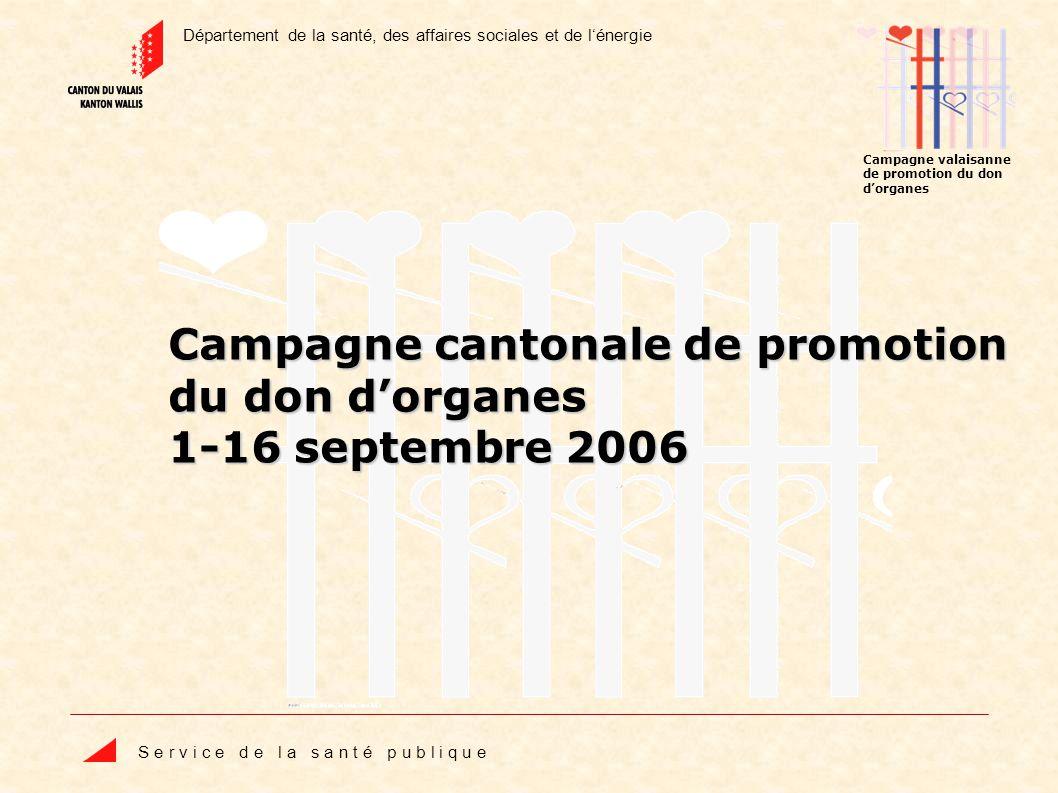 Département de la santé, des affaires sociales et de lénergie S e r v i c e d e l a s a n t é p u b l i q u e Campagne valaisanne de promotion du don dorganes Campagne cantonale de promotion du don dorganes 1-16 septembre 2006