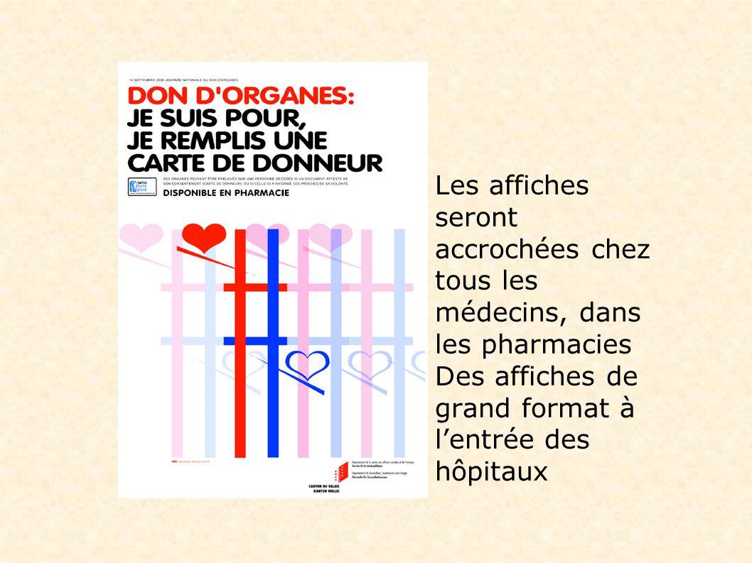 Les affiches seront accrochées chez tous les médecins, dans les pharmacies Des affiches de grand format à lentrée des hôpitaux