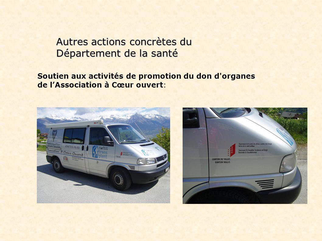 Autres actions concrètes du Département de la santé Soutien aux activités de promotion du don d organes de lAssociation à Cœur ouvert: