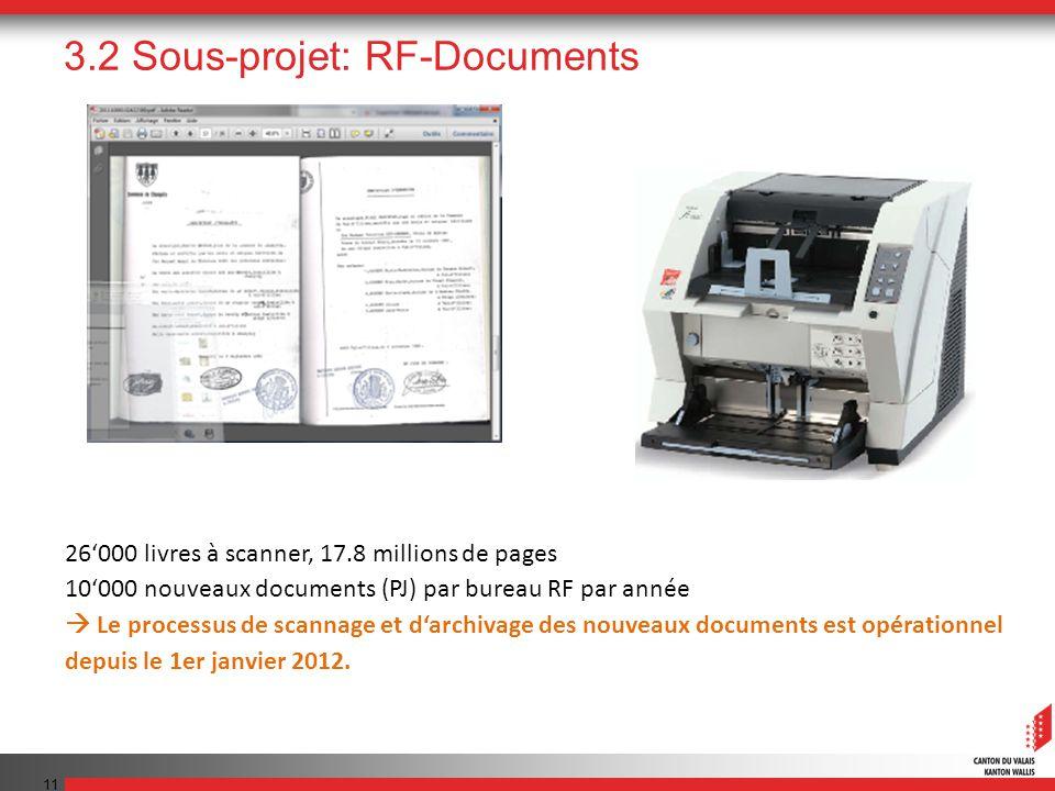 11 3.2 Sous-projet: RF-Documents 26000 livres à scanner, 17.8 millions de pages 10000 nouveaux documents (PJ) par bureau RF par année Le processus de scannage et darchivage des nouveaux documents est opérationnel depuis le 1er janvier 2012.