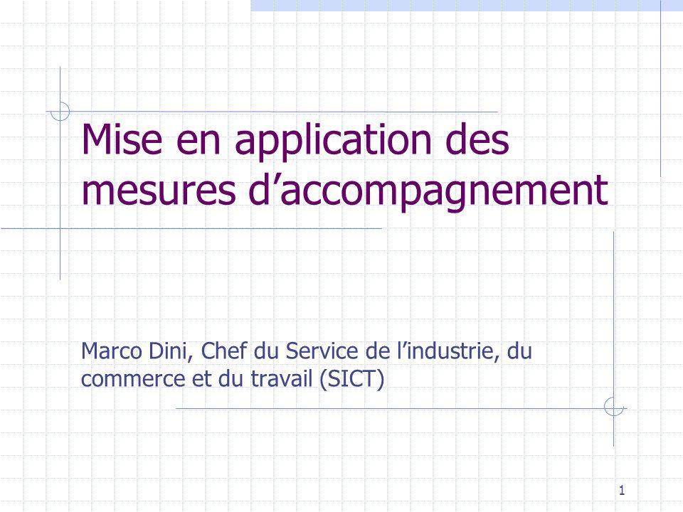 1 Mise en application des mesures daccompagnement Marco Dini, Chef du Service de lindustrie, du commerce et du travail (SICT)