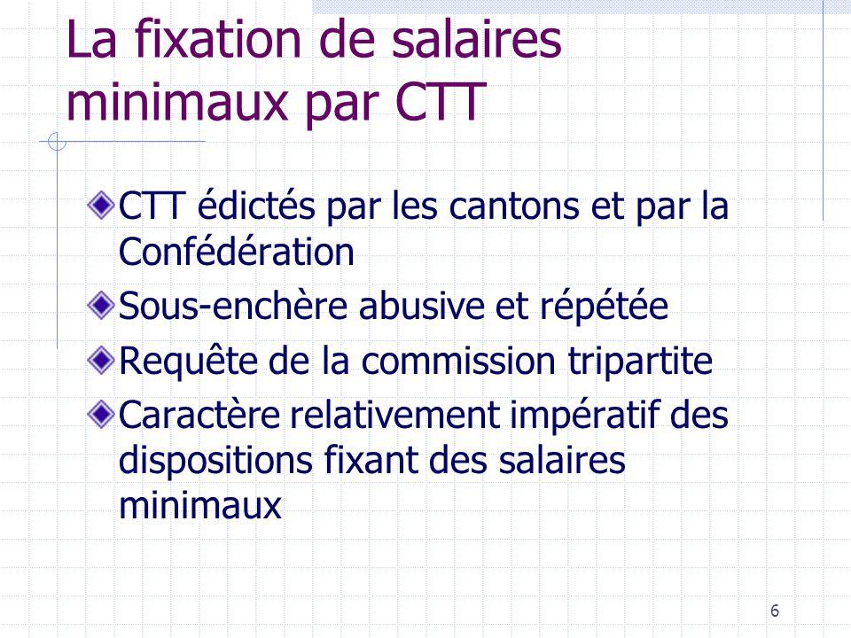 6 La fixation de salaires minimaux par CTT CTT édictés par les cantons et par la Confédération Sous-enchère abusive et répétée Requête de la commission tripartite Caractère relativement impératif des dispositions fixant des salaires minimaux
