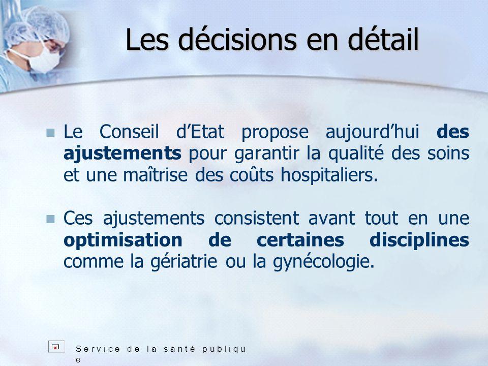 Les décisions en détail Le Conseil dEtat propose aujourdhui des ajustements pour garantir la qualité des soins et une maîtrise des coûts hospitaliers.