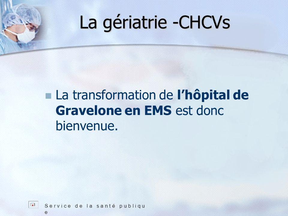La gériatrie -CHCVs S e r v i c e d e l a s a n t é p u b l i q u e La transformation de lhôpital de Gravelone en EMS est donc bienvenue.