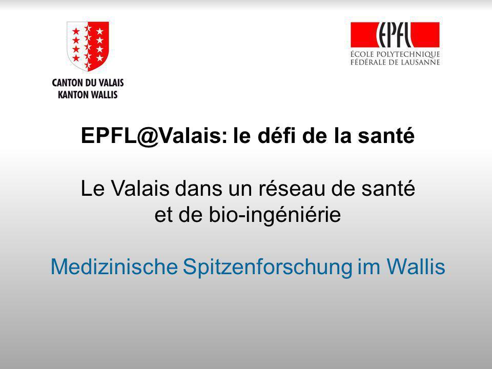EPFL@Valais: le défi de la santé Le Valais dans un réseau de santé et de bio-ingéniérie Medizinische Spitzenforschung im Wallis