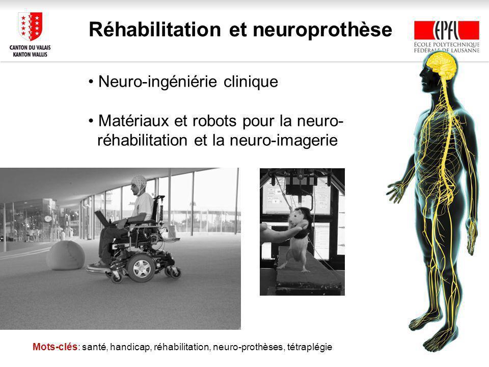 Réhabilitation et neuroprothèse Mots-clés: santé, handicap, réhabilitation, neuro-prothèses, tétraplégie Neuro-ingéniérie clinique Matériaux et robots pour la neuro- réhabilitation et la neuro-imagerie