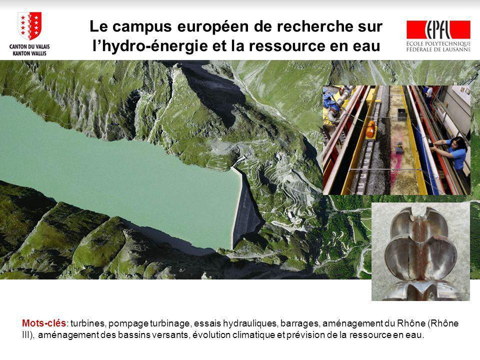 Le campus européen de recherche sur lhydro-énergie et la ressource en eau Mots-clés: turbines, pompage turbinage, essais hydrauliques, barrages, aménagement du Rhône (Rhône III), aménagement des bassins versants, évolution climatique et prévision de la ressource en eau.