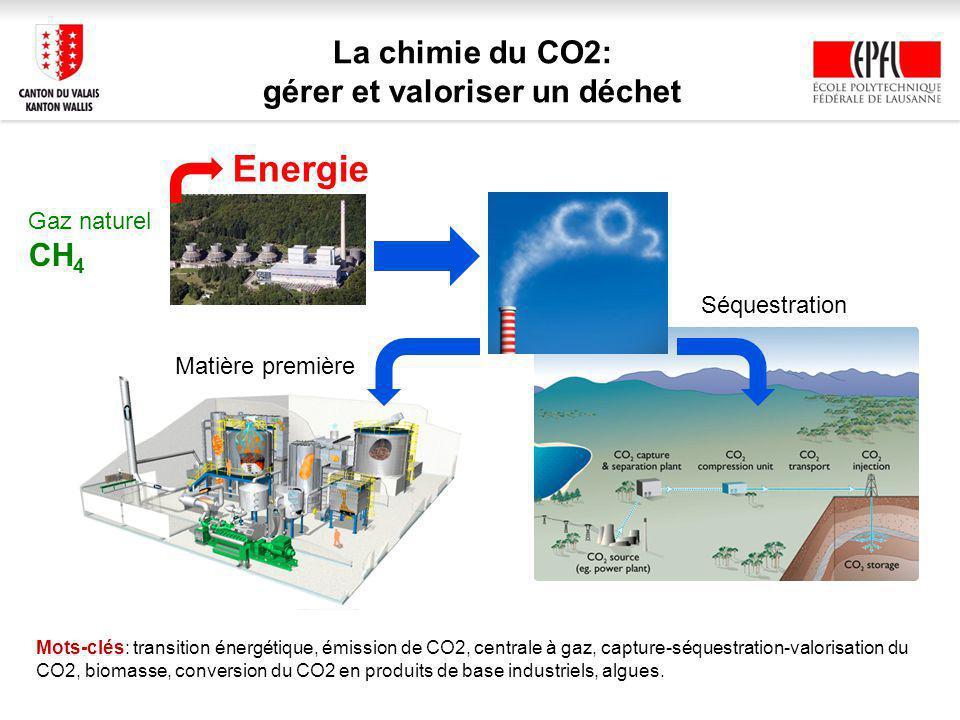 La chimie du CO2: gérer et valoriser un déchet Mots-clés: transition énergétique, émission de CO2, centrale à gaz, capture-séquestration-valorisation du CO2, biomasse, conversion du CO2 en produits de base industriels, algues.