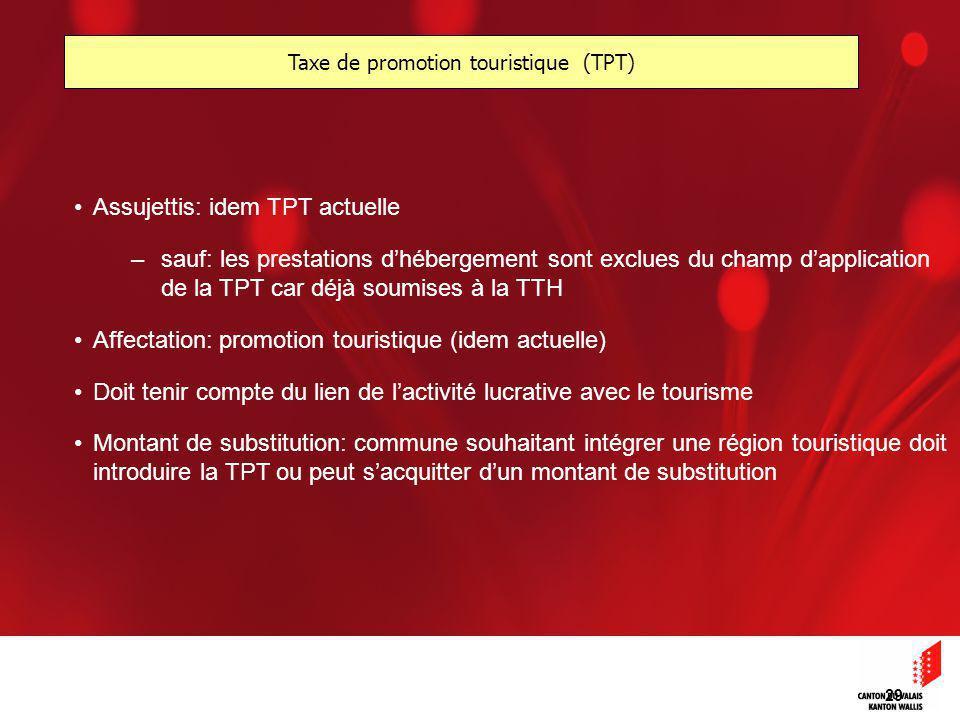 29 Assujettis: idem TPT actuelle –sauf: les prestations dhébergement sont exclues du champ dapplication de la TPT car déjà soumises à la TTH Affectation: promotion touristique (idem actuelle) Doit tenir compte du lien de lactivité lucrative avec le tourisme Montant de substitution: commune souhaitant intégrer une région touristique doit introduire la TPT ou peut sacquitter dun montant de substitution Taxe de promotion touristique (TPT)