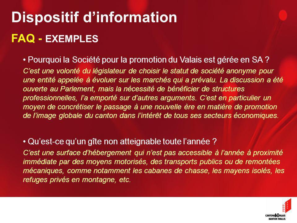 40 Pourquoi la Société pour la promotion du Valais est gérée en SA .