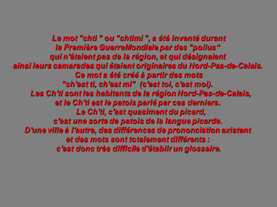 Le mot chti ou chtimi , a été inventé durant la Première GuerreMondiale par des poilus qui n étaient pas de la région, et qui désignaient ainsi leurs camarades qui étaient originaires du Nord-Pas-de-Calais.