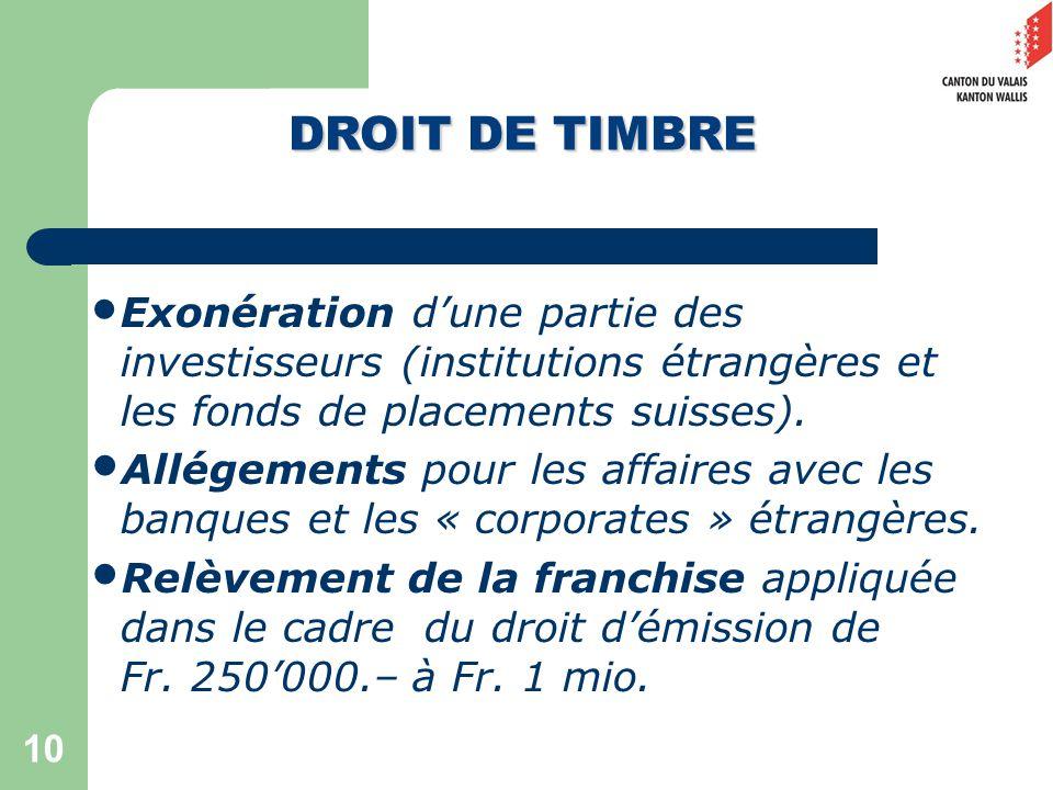 10 Exonération dune partie des investisseurs (institutions étrangères et les fonds de placements suisses).