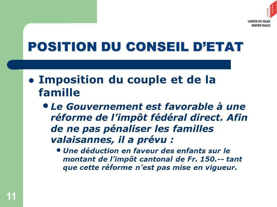 11 POSITION DU CONSEIL DETAT Imposition du couple et de la famille Le Gouvernement est favorable à une réforme de limpôt fédéral direct.