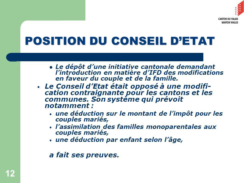 12 POSITION DU CONSEIL DETAT Le dépôt dune initiative cantonale demandant lintroduction en matière dIFD des modifications en faveur du couple et de la famille.