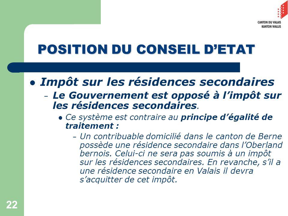 22 POSITION DU CONSEIL DETAT Impôt sur les résidences secondaires – Le Gouvernement est opposé à limpôt sur les résidences secondaires.
