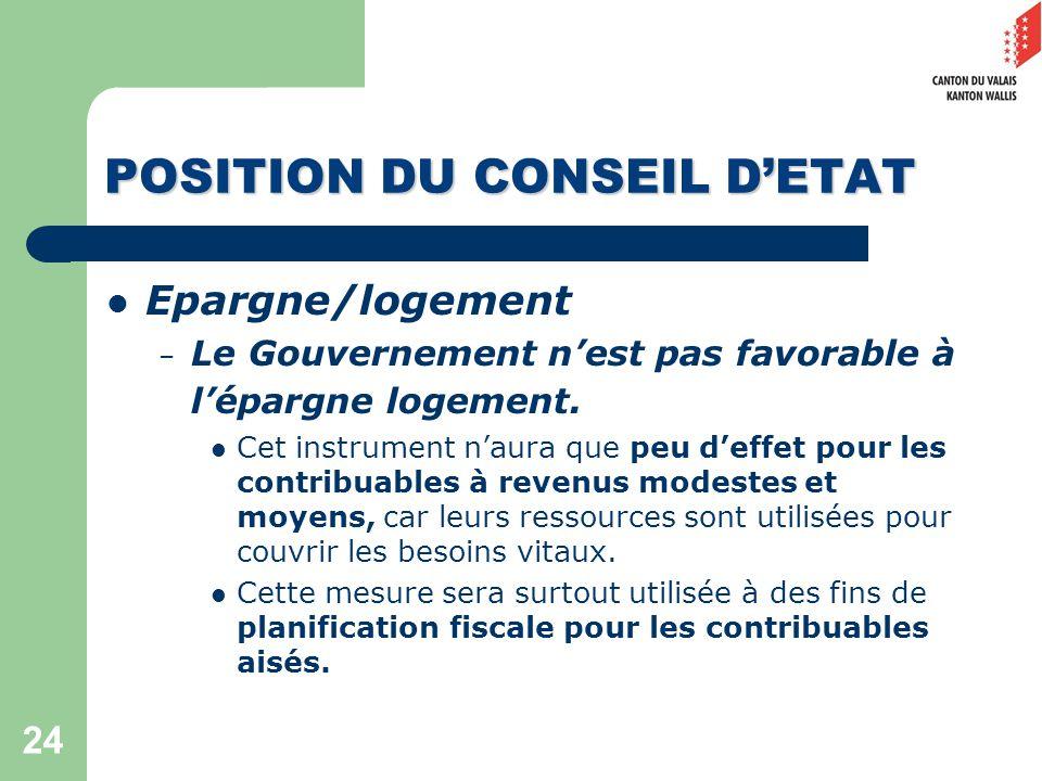 24 POSITION DU CONSEIL DETAT Epargne/logement – Le Gouvernement nest pas favorable à lépargne logement.