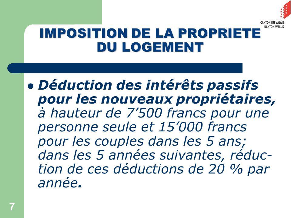 7 Déduction des intérêts passifs pour les nouveaux propriétaires, à hauteur de 7500 francs pour une personne seule et 15000 francs pour les couples dans les 5 ans; dans les 5 années suivantes, réduc- tion de ces déductions de 20 % par année.