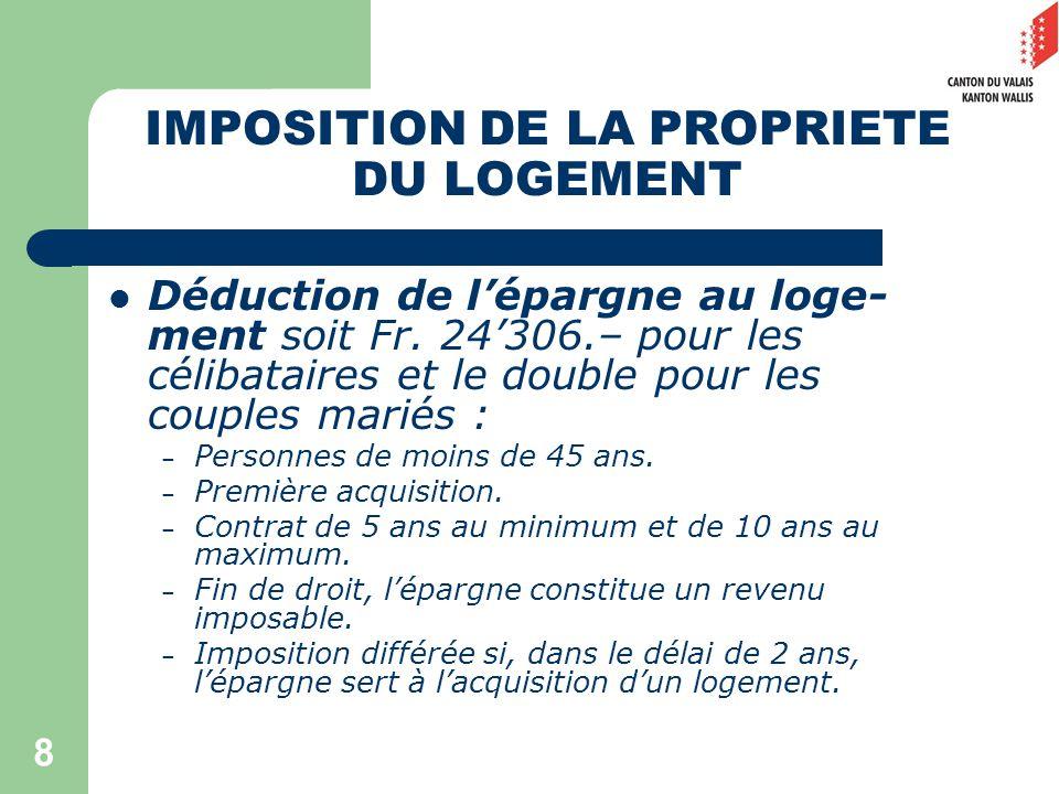 8 IMPOSITION DE LA PROPRIETE DU LOGEMENT Déduction de lépargne au loge- ment soit Fr.