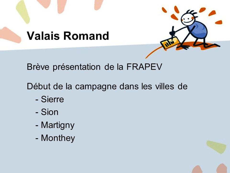 10 Campagne en Valais Romand Valais Romand Brève présentation de la FRAPEV Début de la campagne dans les villes de - Sierre - Sion - Martigny - Monthe