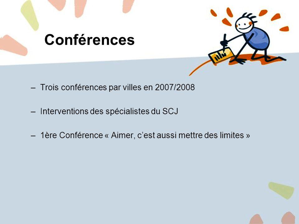 14 Conférences –Trois conférences par villes en 2007/2008 –Interventions des spécialistes du SCJ –1ère Conférence « Aimer, cest aussi mettre des limites »