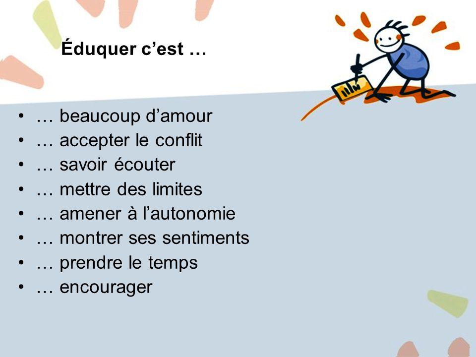 7 Éduquer cest … … beaucoup damour … accepter le conflit … savoir écouter … mettre des limites … amener à lautonomie … montrer ses sentiments … prendre le temps … encourager