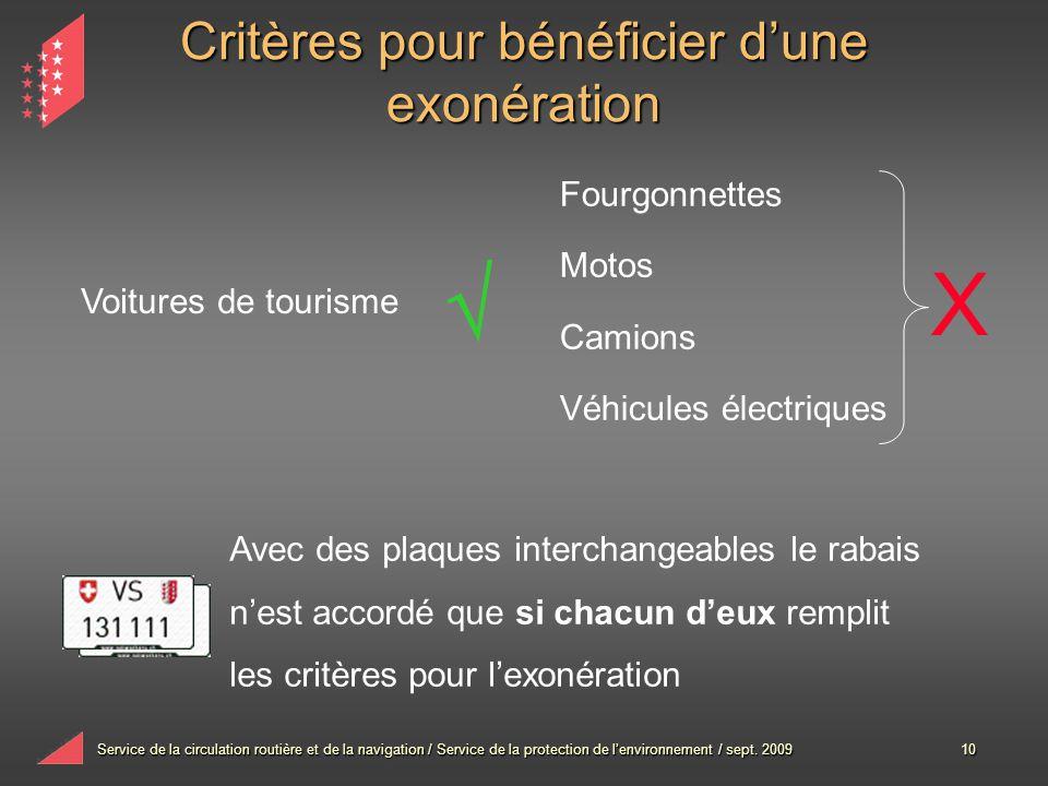 Service de la circulation routière et de la navigation / Service de la protection de lenvironnement / sept. 200910 Critères pour bénéficier dune exoné