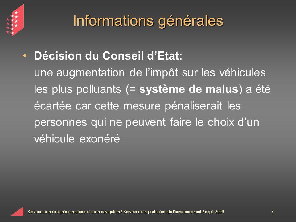 Service de la circulation routière et de la navigation / Service de la protection de lenvironnement / sept. 20097 Informations générales Décision du C