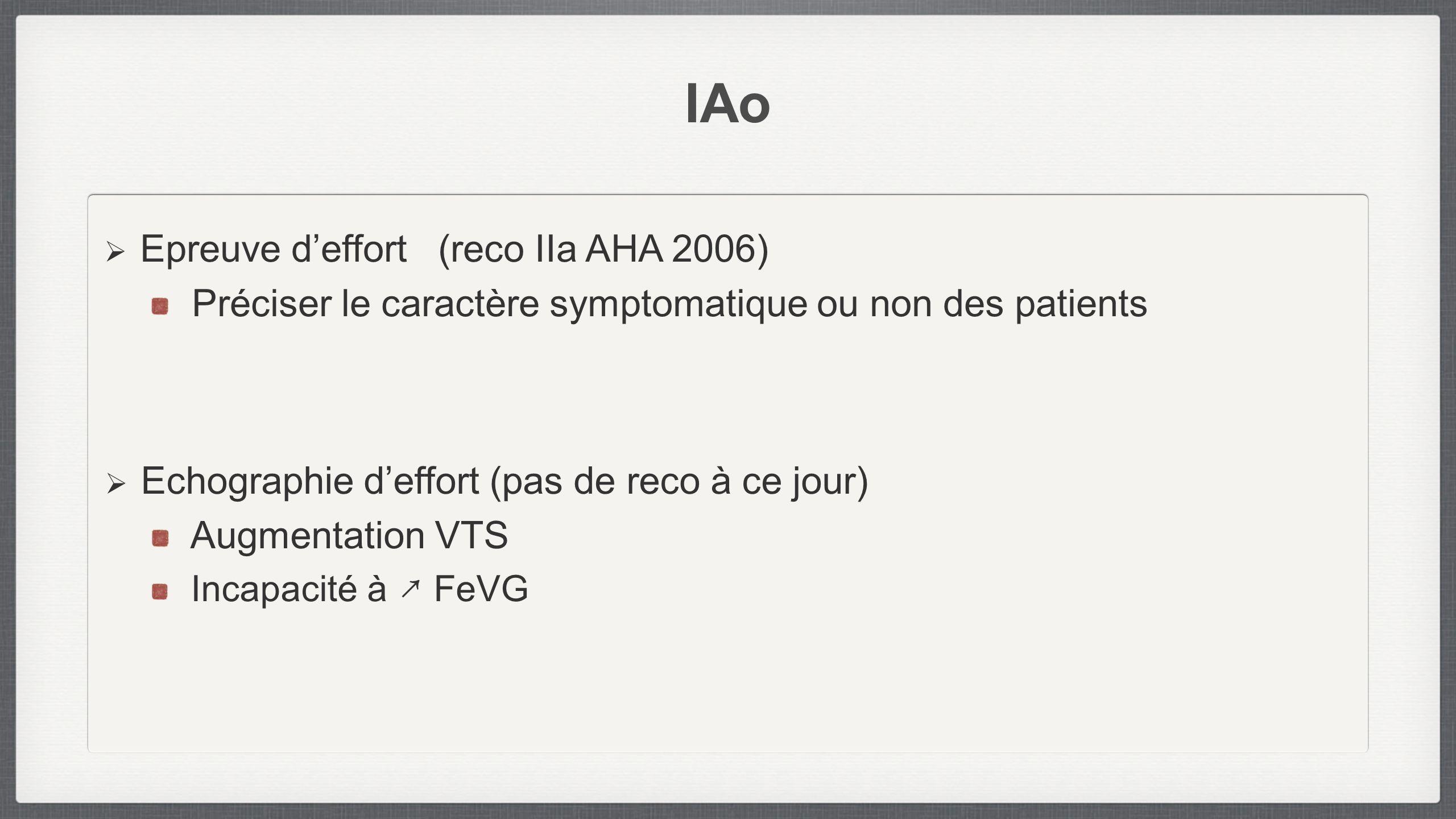 IAo Epreuve deffort (reco IIa AHA 2006) Préciser le caractère symptomatique ou non des patients Echographie deffort (pas de reco à ce jour) Augmentati