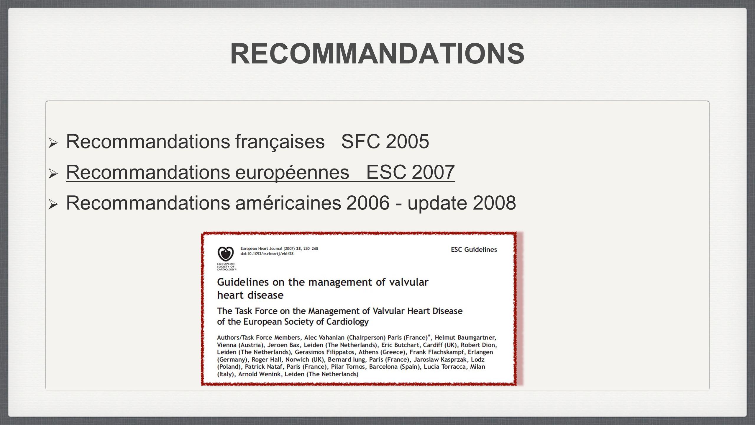 RECOMMANDATIONS Recommandations françaises SFC 2005 Recommandations européennes ESC 2007 Recommandations américaines 2006 - update 2008