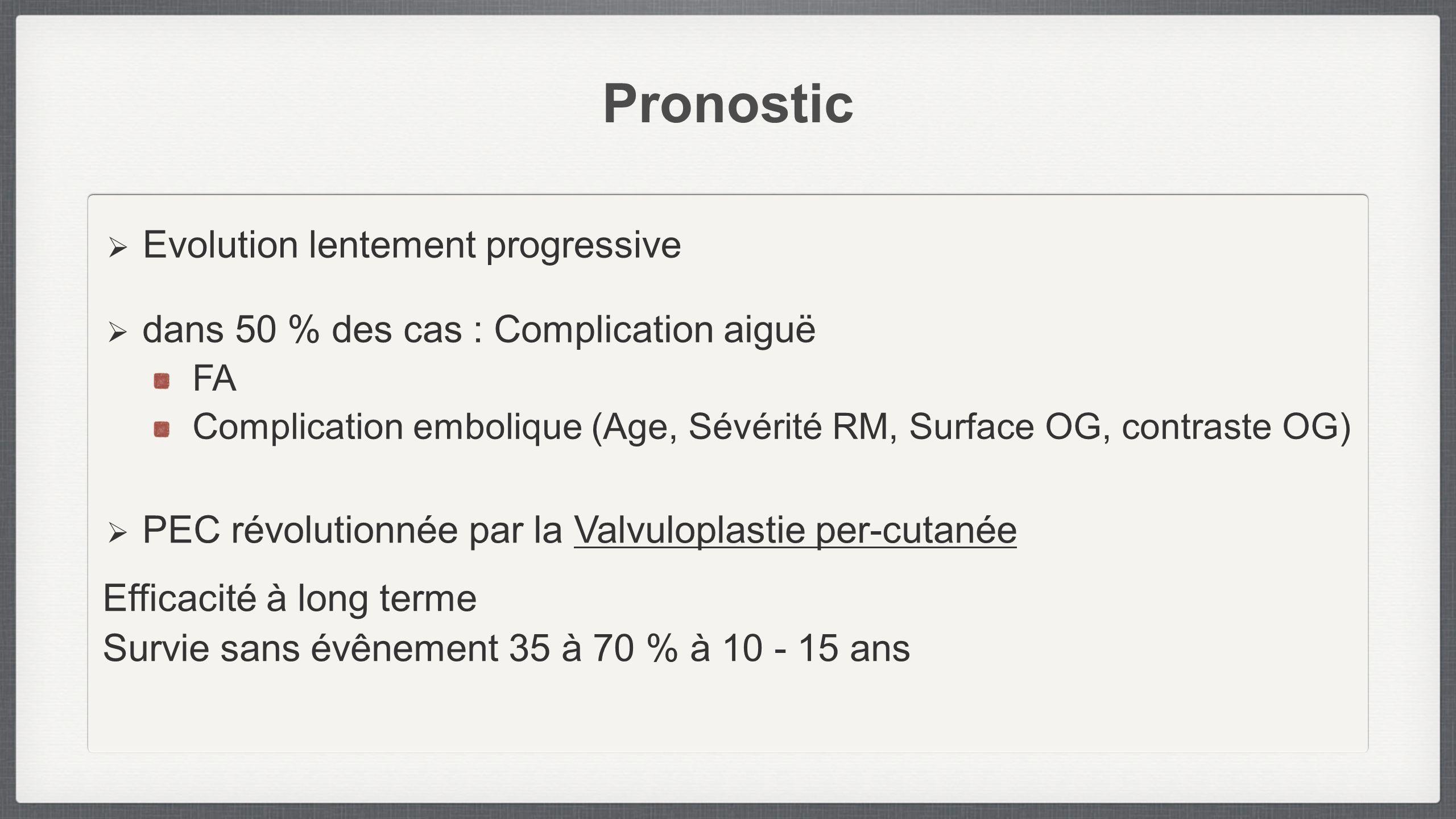 Pronostic Evolution lentement progressive dans 50 % des cas : Complication aiguë FA Complication embolique (Age, Sévérité RM, Surface OG, contraste OG