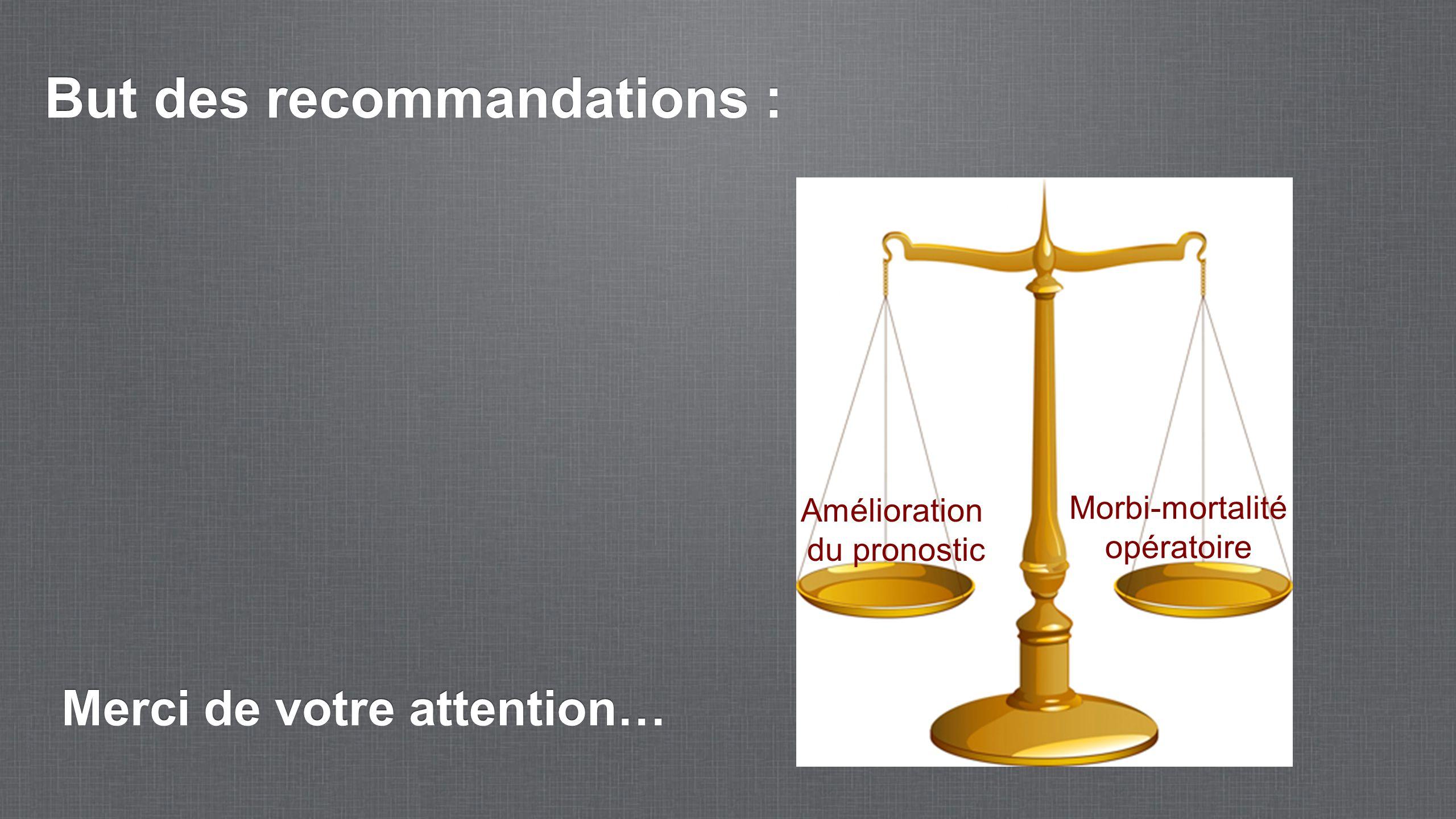 But des recommandations : Amélioration du pronostic Morbi-mortalité opératoire Merci de votre attention…
