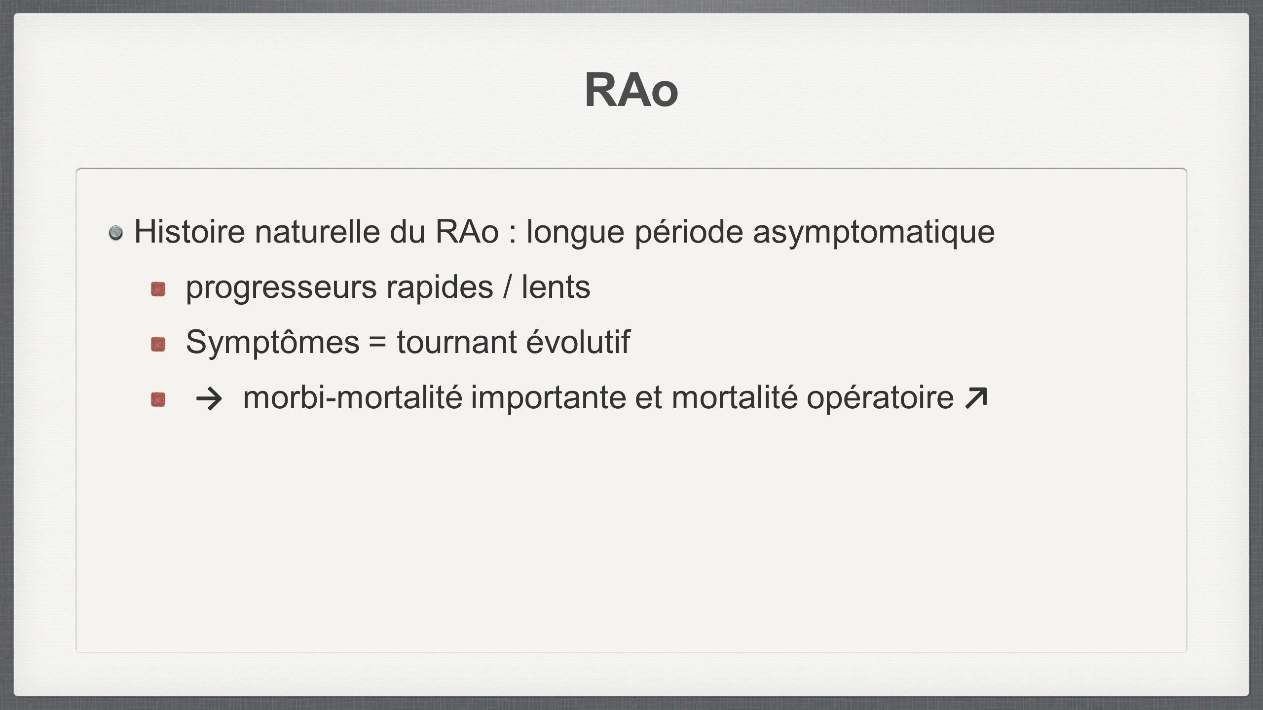 Histoire naturelle du RAo : longue période asymptomatique progresseurs rapides / lents Symptômes = tournant évolutif morbi-mortalité importante et mor