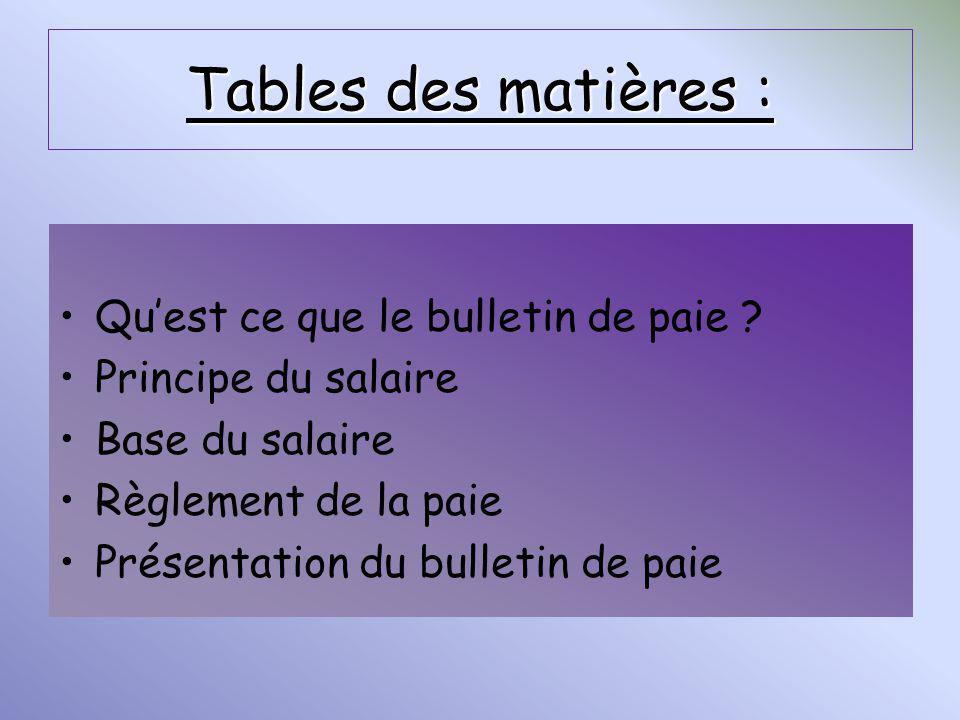 Tables des matières : Quest ce que le bulletin de paie ? Principe du salaire Base du salaire Règlement de la paie Présentation du bulletin de paie