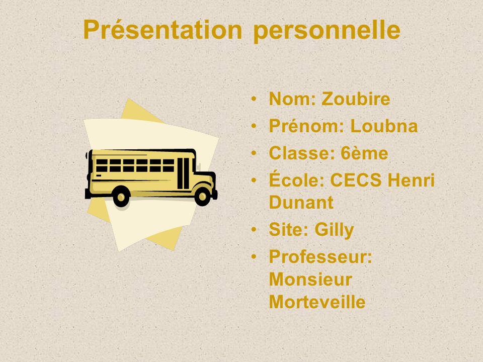 Présentation personnelle Nom: Zoubire Prénom: Loubna Classe: 6ème École: CECS Henri Dunant Site: Gilly Professeur: Monsieur Morteveille