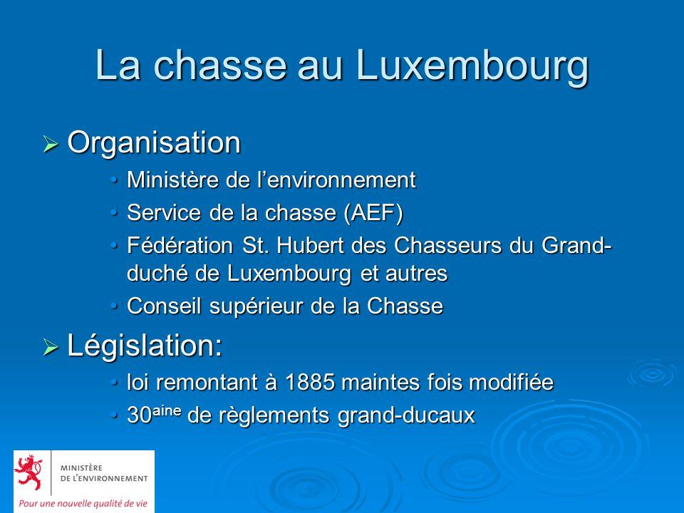 La chasse au Luxembourg Organisation Organisation Ministère de lenvironnementMinistère de lenvironnement Service de la chasse (AEF)Service de la chass