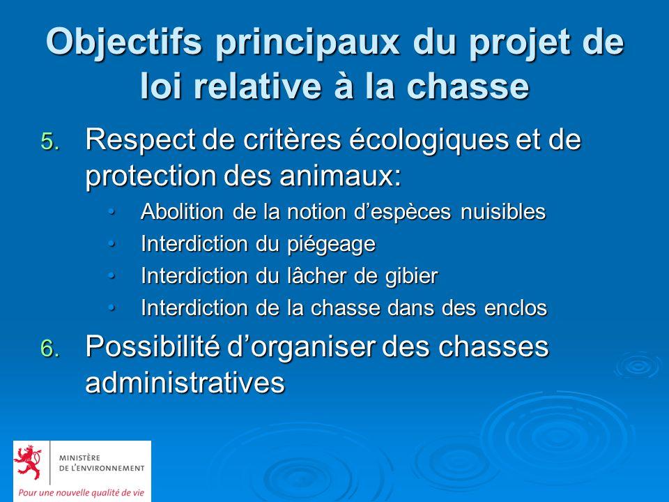 Objectifs principaux du projet de loi relative à la chasse 5. Respect de critères écologiques et de protection des animaux: Abolition de la notion des