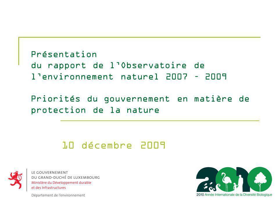 Présentation du rapport de lObservatoire de lenvironnement naturel 2007 – 2009 Priorités du gouvernement en matière de protection de la nature 10 décembre 2009