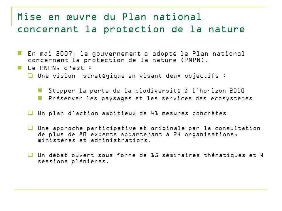 Mise en œuvre du Plan national concernant la protection de la nature En mai 2007, le gouvernement a adopté le Plan national concernant la protection de la nature (PNPN).