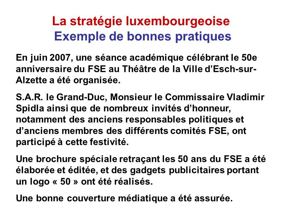 La stratégie luxembourgeoise Exemple de bonnes pratiques En juin 2007, une séance académique célébrant le 50e anniversaire du FSE au Théâtre de la Ville dEsch-sur- Alzette a été organisée.