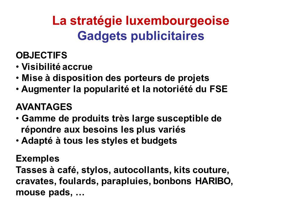 La stratégie luxembourgeoise Exemple de bonnes pratiques Pour marquer et fêter les 50 ans du FSE, le Ministère du Travail et de lEmploi avait élaboré un scénario rassemblant tous les ingrédients de sa stratégie de communication.