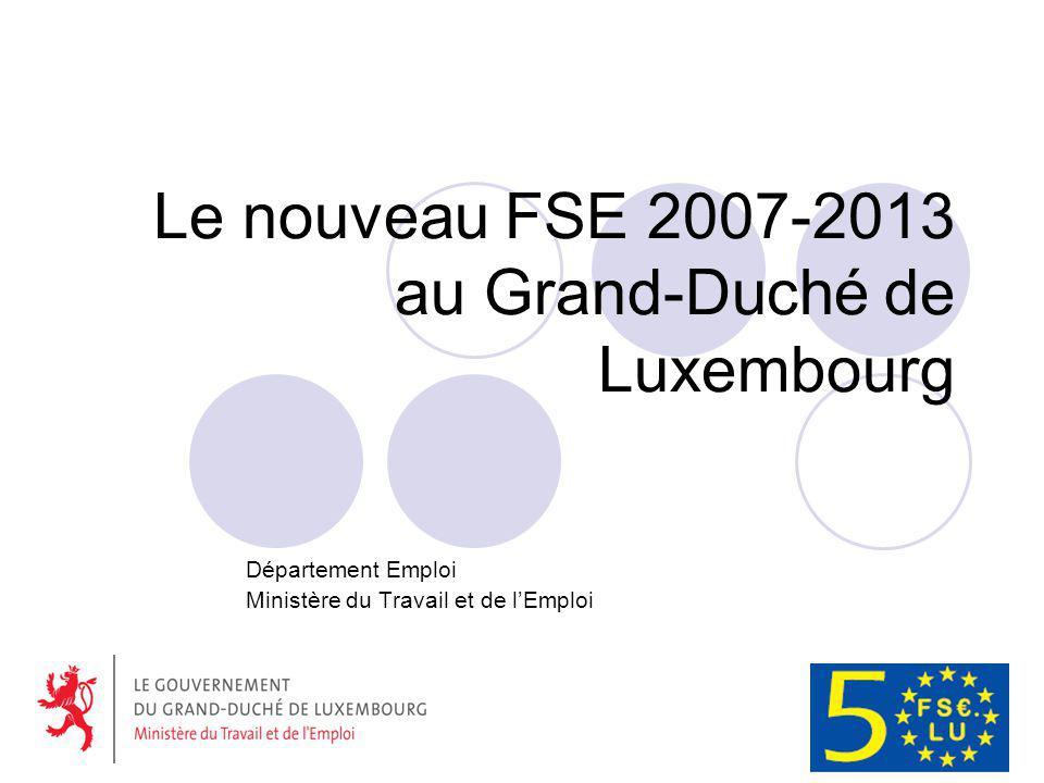 Le nouveau FSE 2007-2013 au Grand-Duché de Luxembourg Département Emploi Ministère du Travail et de lEmploi