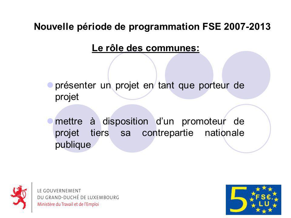 Nouvelle période de programmation FSE 2007-2013 Le rôle des communes: présenter un projet en tant que porteur de projet mettre à disposition dun promoteur de projet tiers sa contrepartie nationale publique