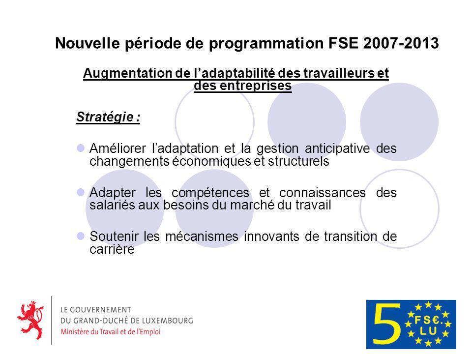Nouvelle période de programmation FSE 2007-2013 Augmentation de ladaptabilité des travailleurs et des entreprises Stratégie : Améliorer ladaptation et