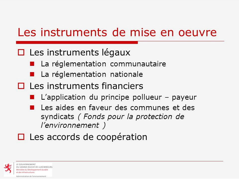 Les instruments de mise en oeuvre Les instruments légaux La réglementation communautaire La réglementation nationale Les instruments financiers Lappli